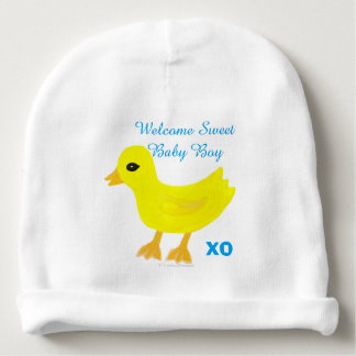 Yellow Ducky Baby Boy Hospital Name Hat Baby Beanie