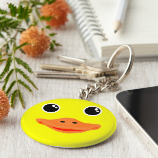 Yellow Ducky Basic Round Button Key Ring