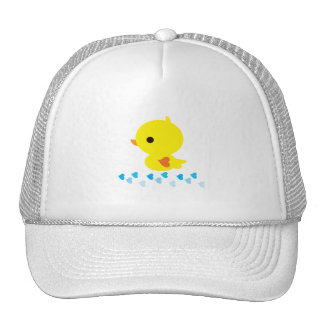 Yellow Ducky Orange Heart Wings Baby Shower Cap