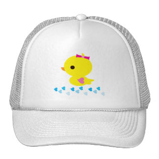 Yellow Ducky Pink Heart Wings Gender Reveal Cap