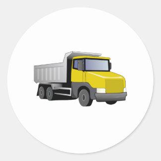 Yellow Dump Truck Classic Round Sticker