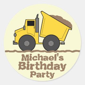 Yellow Dump Truck & Mud Birthday Party Sticker