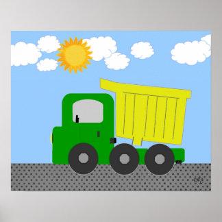 Yellow Dump Truck Poster