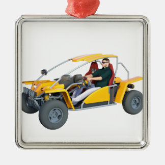 Yellow Dune Buggy Metal Ornament