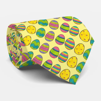 Yellow Easter Basket Egg Hunt Painted Eggs Tie