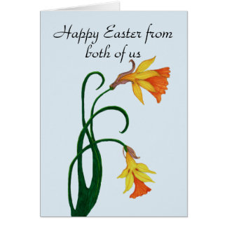 Yellow Easter Lily Daffodil, Happy Easter Card