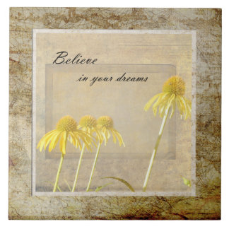 Yellow Echinacea Inspired Floral Large Square Tile