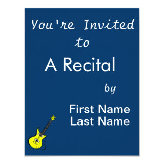 """yellow electric guitar music graphic.png 4.25"""" x 5.5"""" invitation card"""