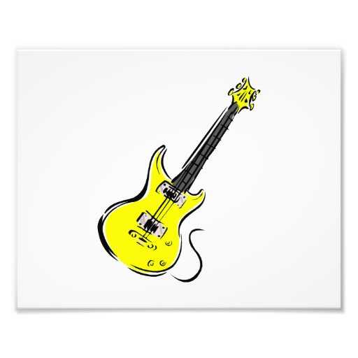 yellow electric guitar music graphic.png photographic print