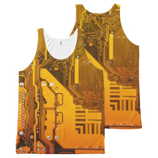 yellow electronic circuit board computer All-Over print singlet