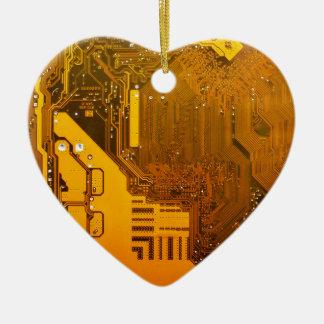 yellow electronic circuit board.JPG Ceramic Heart Decoration