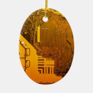 yellow electronic circuit board.JPG Ceramic Oval Decoration