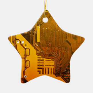 yellow electronic circuit board.JPG Ceramic Star Decoration