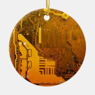 yellow electronic circuit board.JPG Round Ceramic Decoration