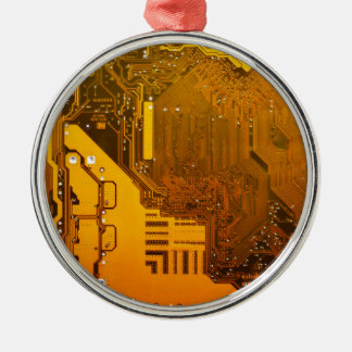 yellow electronic circuit board.JPG Silver-Colored Round Decoration