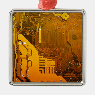yellow electronic circuit board.JPG Silver-Colored Square Decoration