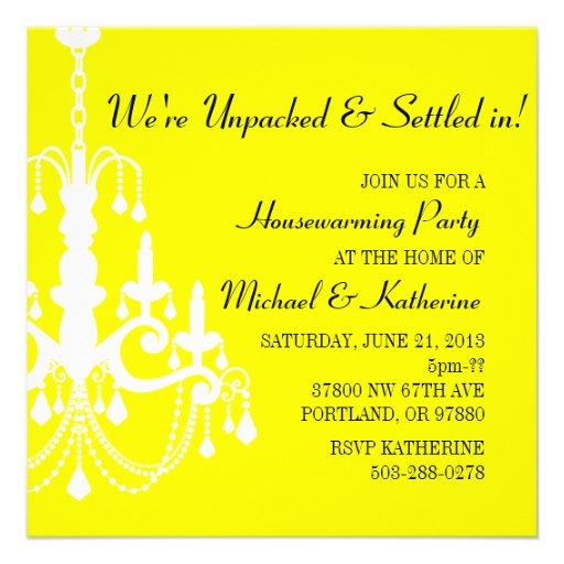 Yellow Elegant Chandelier Housewarming Invitation
