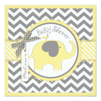 Yellow Elephant and Chevron Print Baby Shower 13 Cm X 13 Cm Square Invitation Card