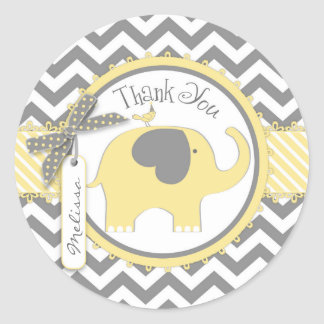 Yellow Elephant and Chevron Print Thank You Round Sticker