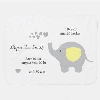 Yellow Elephant Baby Birth Stats Announcement Boy Baby Blanket