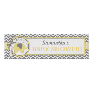 Yellow Elephant Baby Chevron Baby Shower Banner Poster