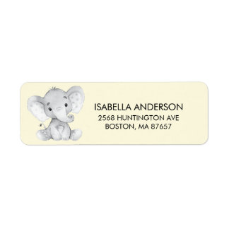 Yellow Elephant Baby Shower Address Label