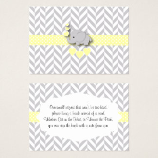 Yellow Elephant Baby Shower Bring a Book Business Card