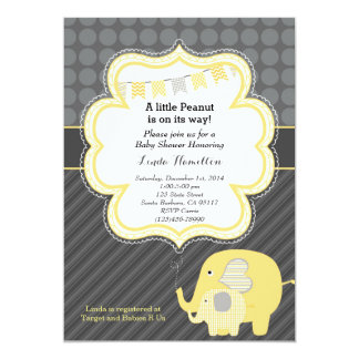 Yellow Elephant Baby Shower Invitation
