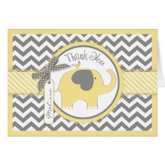 Yellow Elephant Bird Chevron Print Thank You Card
