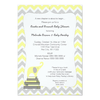 Yellow Elephant Book Baby Shower, books and brunch 13 Cm X 18 Cm Invitation Card