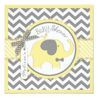 Yellow Elephant Bow-tie Chevron Print Baby Shower 13 Cm X 13 Cm Square Invitation Card