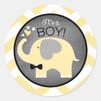 Yellow Elephant Chevron Boy Baby Shower Classic Round Sticker