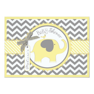 Yellow Elephant Chevron Print Baby Shower Card