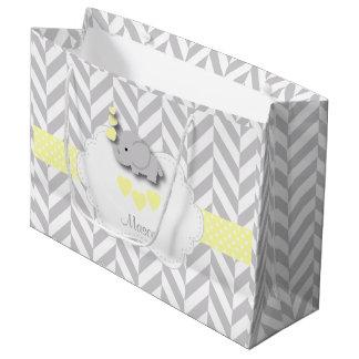 Yellow Elephant Design - Baby Boy Shower Large Gift Bag