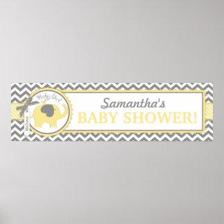 Yellow Elephant Girl Chevron Baby Shower Banner Poster