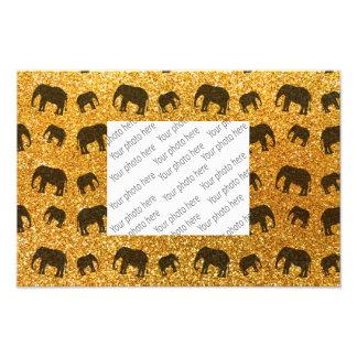 Yellow elephant glitter pattern photo print
