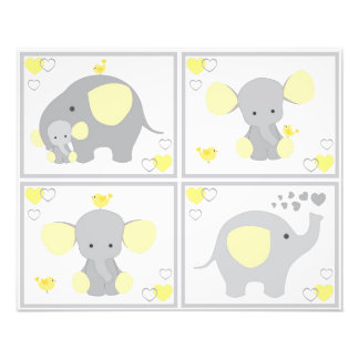 Yellow Elephant Neutral Nursery Wall Art Prints Photo Print