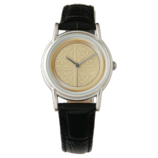 Yellow Embossed Leaves Watch with Leather Band