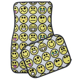 Yellow Emoticon Expressions Smiley Faces Car Mat