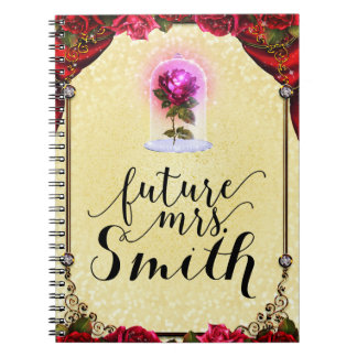 Yellow Enchanted Storybook Red Rose Future Mrs. Notebook