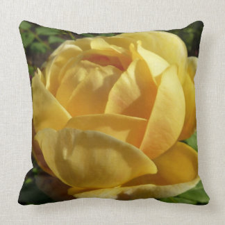 Yellow English Rose Old-Fashioned Floral Cushion