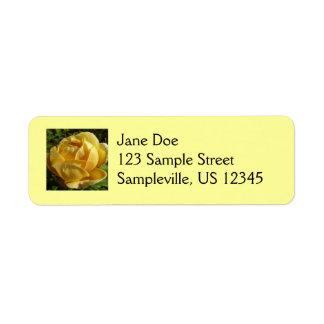 Yellow English Rose Return Address Label