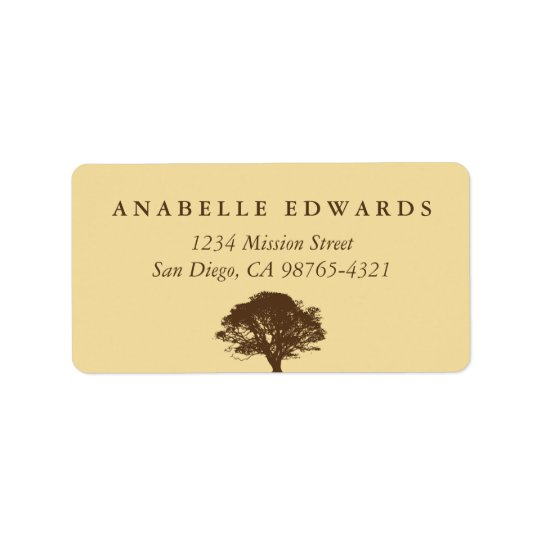 Yellow eternal oak tree envelope seal address address label