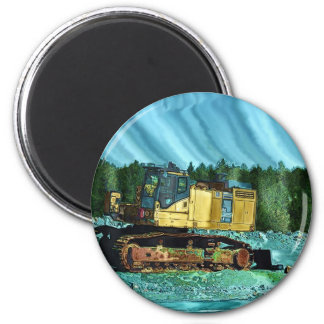 Yellow Excavator Earth-Mover Art Gift 6 Cm Round Magnet