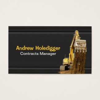 Yellow excavator on black business card