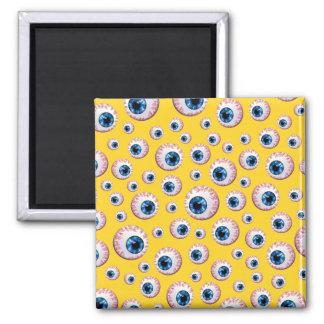 Yellow eyeball pattern fridge magnets