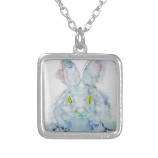 yellow eyes rabbit silver plated necklace