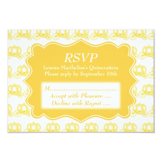 Yellow Fairytale Carriages Quinceanera 9 Cm X 13 Cm Invitation Card