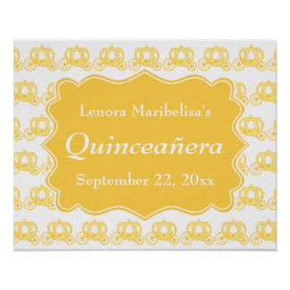 Yellow Fairytale Carriages Quinceanera Print