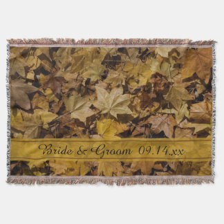 Yellow Fallen Leaves Autumn Wedding Throw